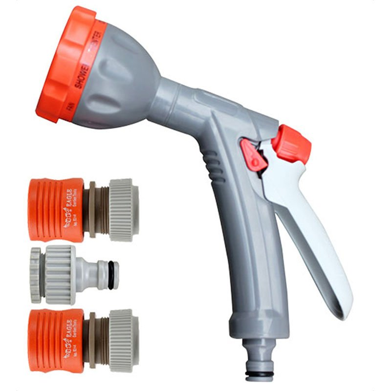 Plastic garden sprayer nozzle+spray gun set+PP and ABS+8 watering pattern switchable+EG-303