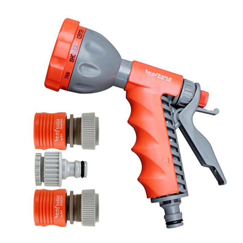 plastic garden sprayer nozzle+spray gun set+PP and ABS+functional 8 water pattern plastic fish bone spray nozzle with hand grip