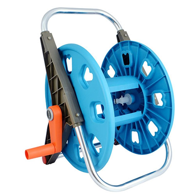 plastic and aluminum garden hose reel rack with 50 meter half inch hose storation+hose reel car+PP and ABS+Aluminum tube+EG-3050