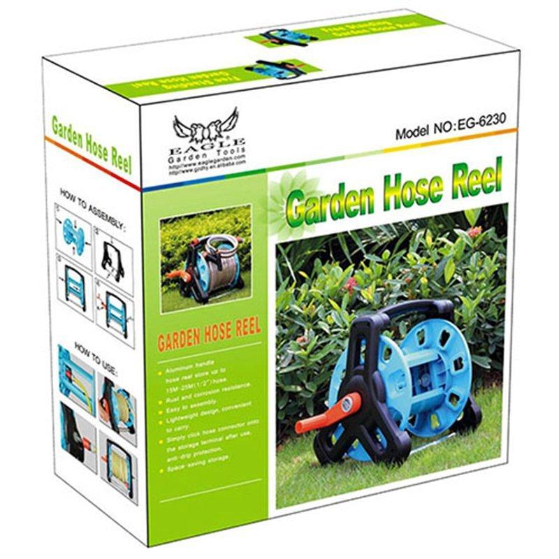 plastic and aluminum garden hose reel rack with 30 meter half inch hose storation+hose reel car+PP and ABS+Aluminum tube+EG-6230