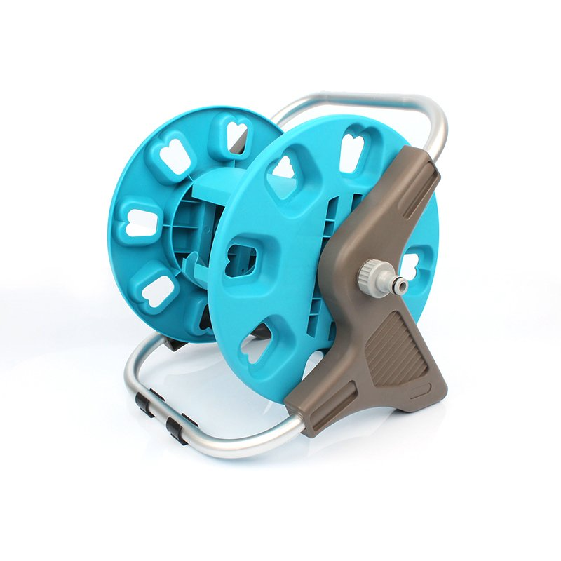 plastic and aluminum garden hose reel rack with 30 meter half inch hose storation+hose reel car+PP and ABS+Aluminum tube+EG-3230